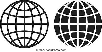 grille, icône, globe, vecteur