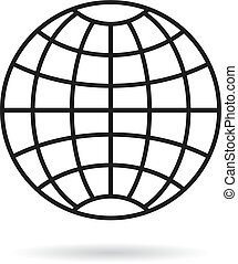 grille, icône, simple, globe