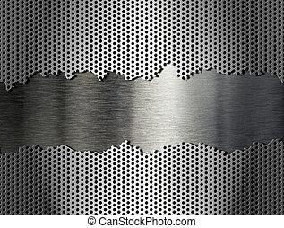 grille, métal, argent, fond