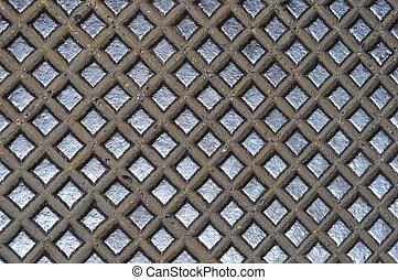 grille métal, croix, texture