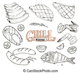 grille meet and fish - Grill time. Hand drawn bbq meat and...