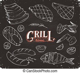 grille meet and fish - Grill time. Hand drawn bbq meat and ...