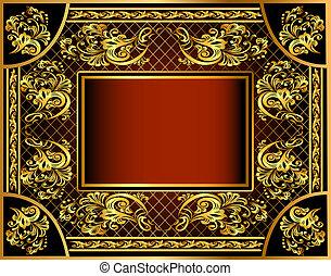grille, ornements, or, fond, cadre, vendange