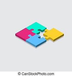 grille, puzzle, carreau, isométrique, puzzle, vecteur, arrière-plan., illustration