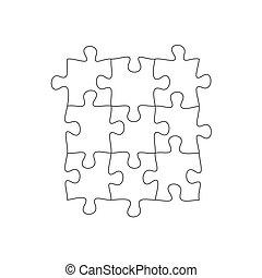 grille, puzzle, carreau, puzzle, vecteur, arrière-plan., illustration