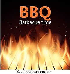 Grille with fire. BBQ vector poster