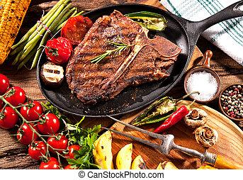 grilled 野菜, 牛肉, ステーキ