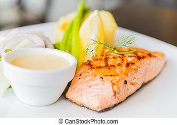 grilled 魚, ステーキ, 鮭, フィレ