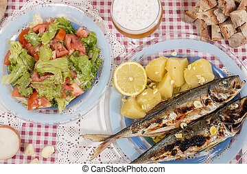 Grilled atlantic horse mackerel meal