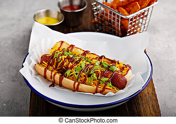 Grilled bacon wrapped hot dog