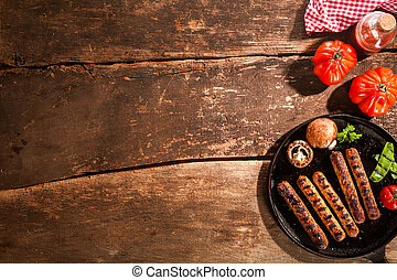 Grilled barbecued sausage with mushrooms - Grilled barbecued...