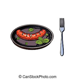 Grilled, barbequed sausage served on frying pan - Freshly...