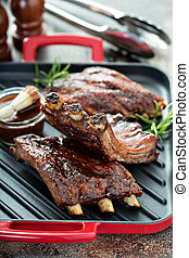 Grilled bbq ribs with sauce