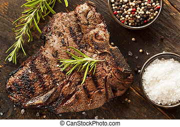Grilled BBQ T-Bone Steak with Fresh Rosemary