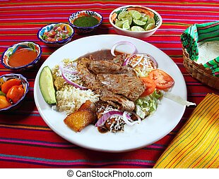Grilled beef fillet assorted mexican dish chili sauce and...