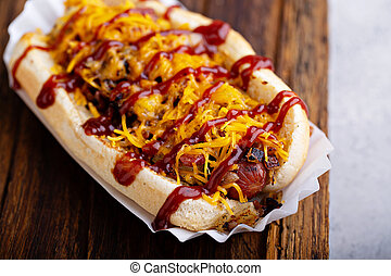 Grilled beef hot dog with bacon and cheese