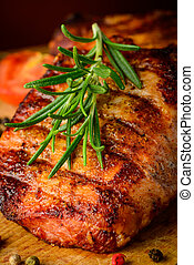 Grilled beef steak and rosemary