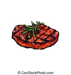 Grilled beef steak, beefsteak with rosemary, sketch style ...