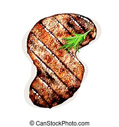 grilled beef steak - S-shape grilled beef steak with herb...