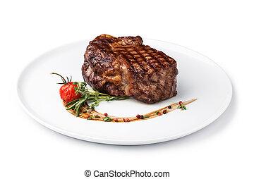 Grilled beef steak - grilled fillet steak on an plate