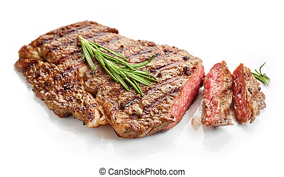 grilled spicy beef steak isolated on white background
