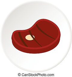 Grilled beef steak icon circle