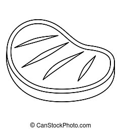 Grilled beef steak icon, outline style