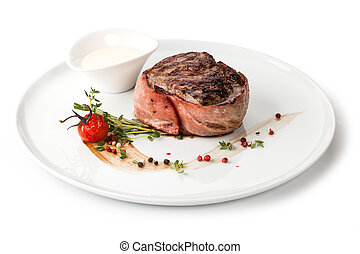 Grilled beef steak on a plate