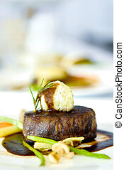 Grilled beef steak with black pepper sauce