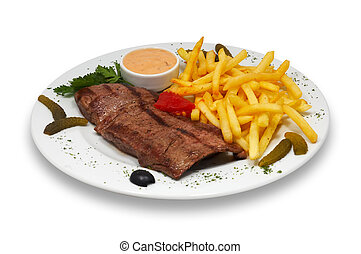 grilled beef steak with french fries and sauce served in plate. isolated.