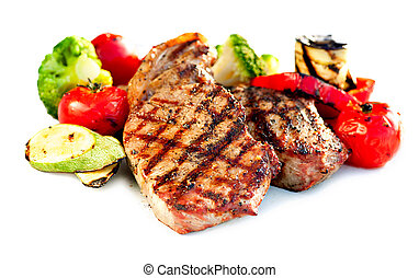 Grilled Beef Steak with Vegetables over White Background