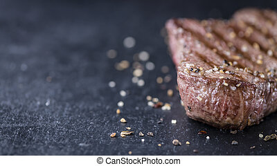 Grilled Beef with crushed pepper and salt as detailed...