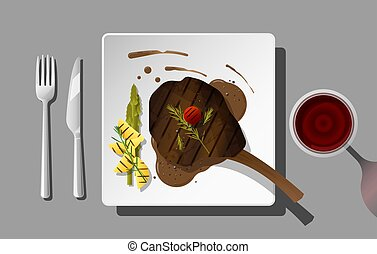Grilled beef, tomahawk steak and spices served on plate with red wine