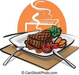 grilled, biefstuk, rundvlees