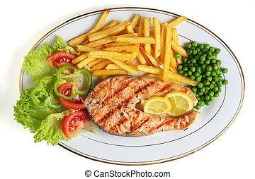 grilled, biefstuk, salmon, maaltijd