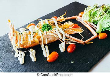 Grilled big prawn or shrimp with sauce