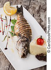 Grilled bream fish