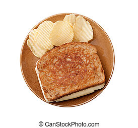 grilled cheese and chips - grilled cheese sandwich on a ...