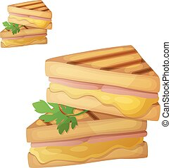 Grilled cheese sandwich. Detailed vector icon isolated on...