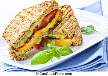 Grilled cheese sandwich - Grilled cheese and tomato sandwich...