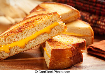 Grilled Cheese Sandwich - Toasted crispy on the outside,...