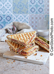 Grilled cheese sandwich with ham