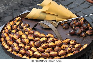 Grilled chestnuts - Resale of grilled chestnuts in a booth -...