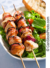 Grilled chicken and salad - Grilled chicken onion skewers...