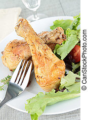 grilled chicken and salad