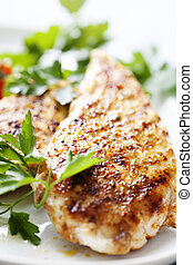 grilled chicken brest fillet - closeup of juicy grilled ...