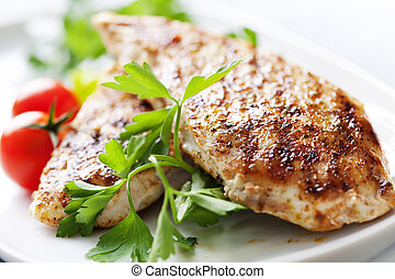 grilled chicken brest fillet - closeup of juicy grilled...