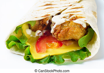 Grilled chicken burrito with cheese on white background