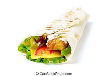 Grilled chicken burrito with salad on white background