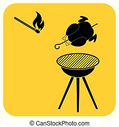 Grilled chicken icon - barbecue grill with chicken icon....